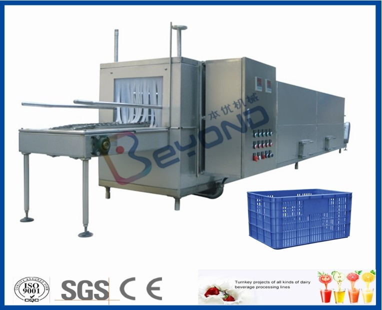 Juice Bottle Plastic Crate Washing Machine , Stainless Steel Crate Washer Machine